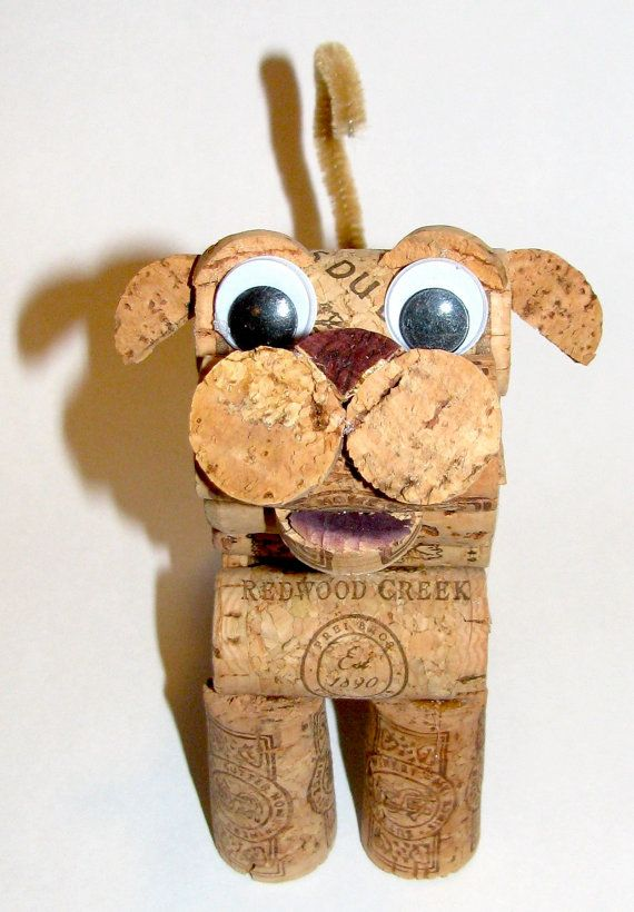 Dog and cat figurines made from recycled corks by for Cork balls for crafts
