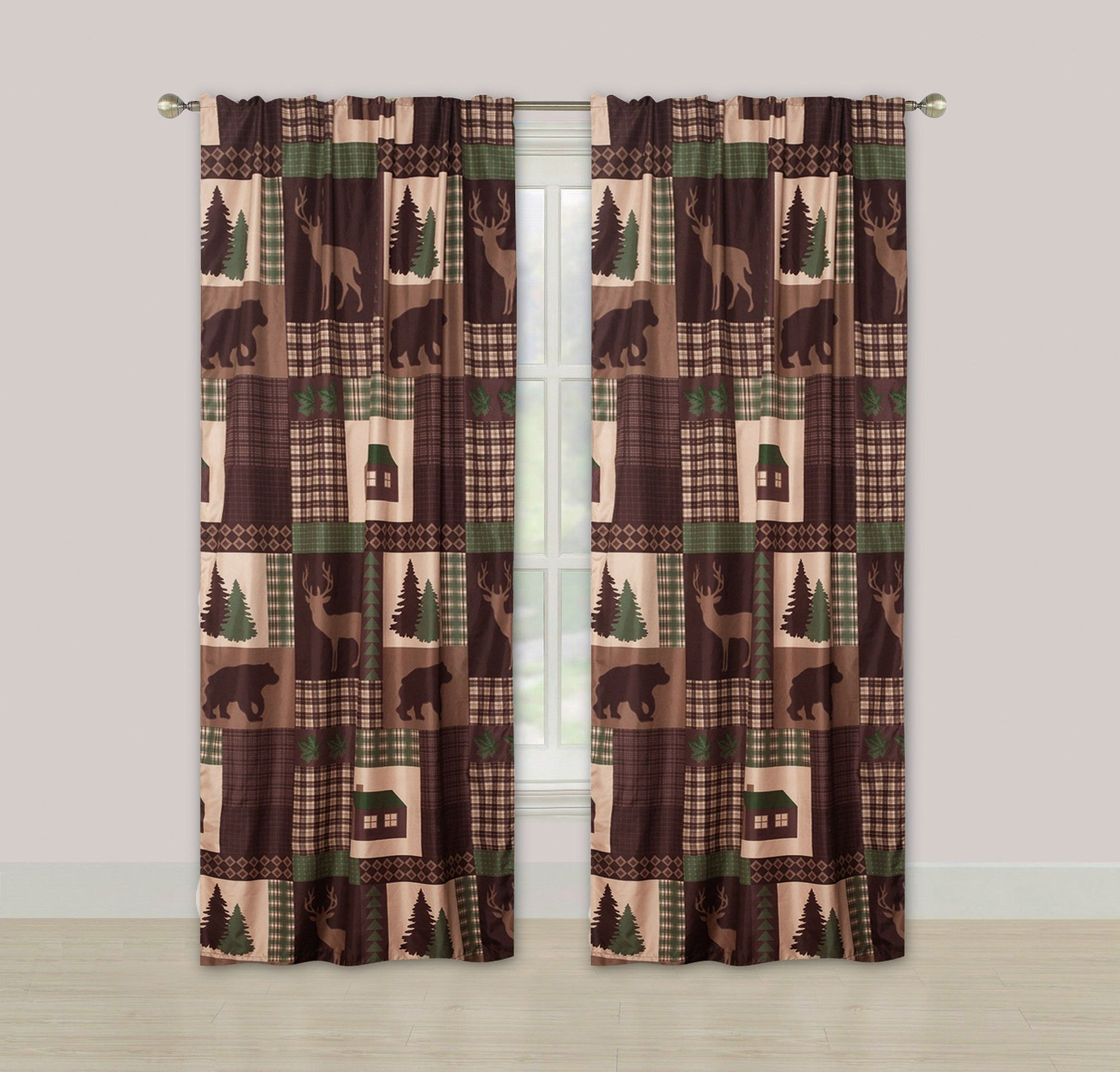 Brown Tan Winter Log Cabin Country Style Pinecone Woven Fabric Shower Curtain