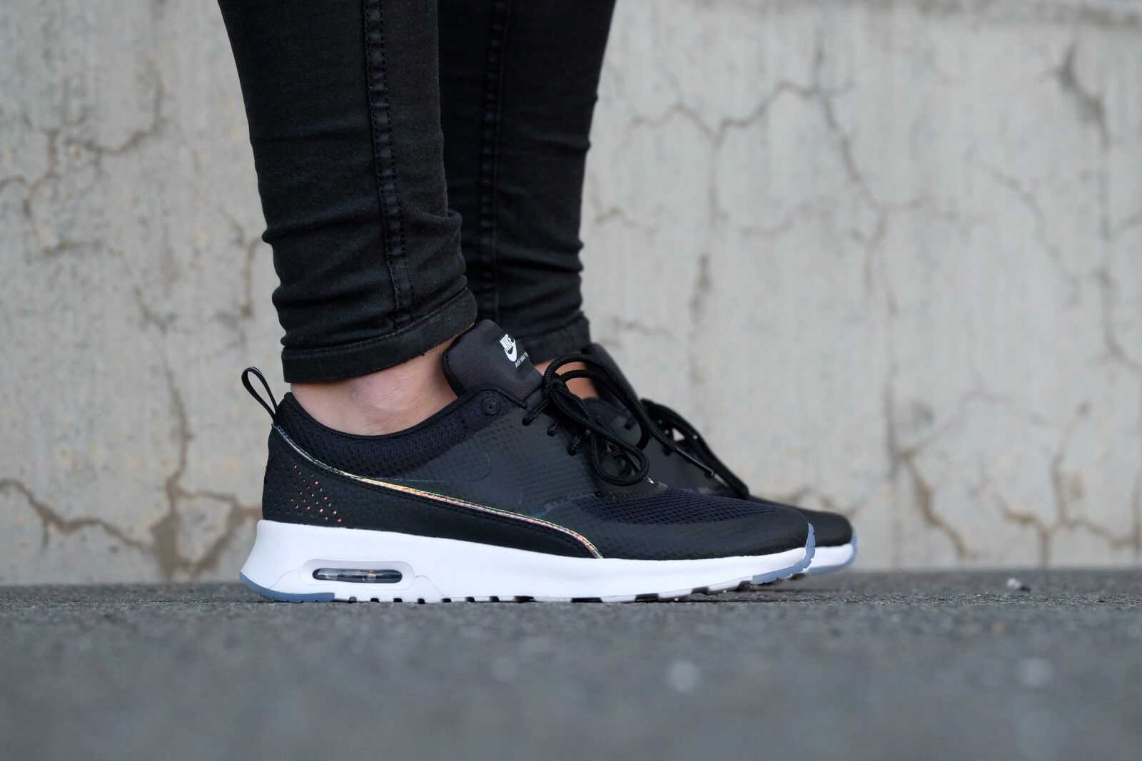 hot sale online 9e5e3 336f8 Nike Air Max Thea Premium Black Blue Tint Women s Shoes