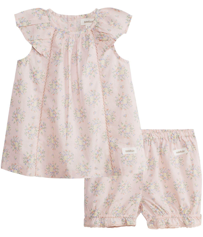 Blommig kort klänning set m puff shorts