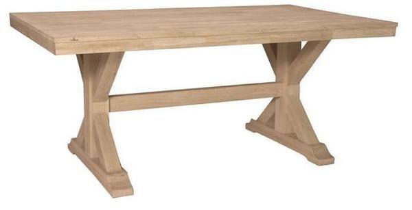 Canyon Unfinished Solid Hardwood Trestle Dining Table 69