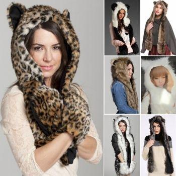 1fe90d32cebcb New Animal Winter Warm Faux Fur Hat Fluffy Plush Cap Hood Scarf Shawl Glove  Xmas HOT