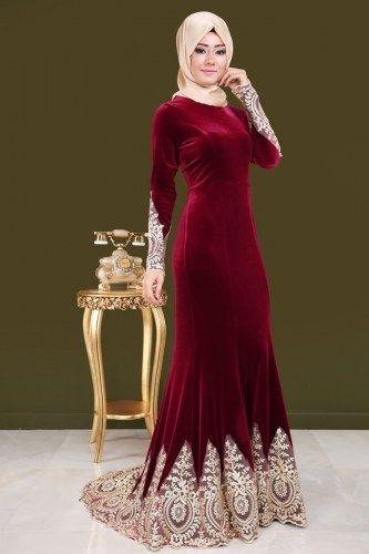 Gold Detayli Kuyruklu Kadife Abiye Bordo Elbise Modelleri Elbise Cicekli Elbiseler