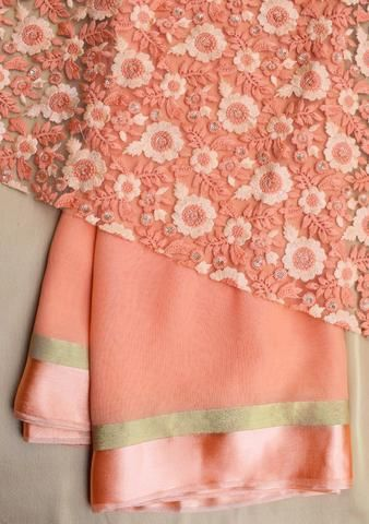 86303e12ea0506 Peach saree with net blouse piece   Saree   Net blouses, Peach saree ...