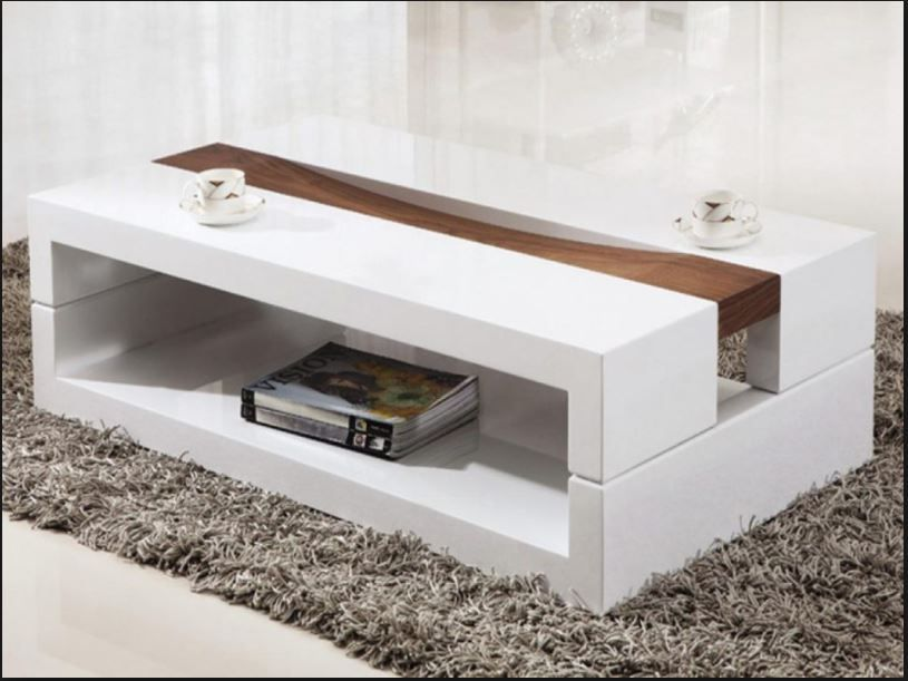 Awesome White And Walnut Wooden Coffee Table With Open Shelf Placed On Gray  Fur Rug Ideas