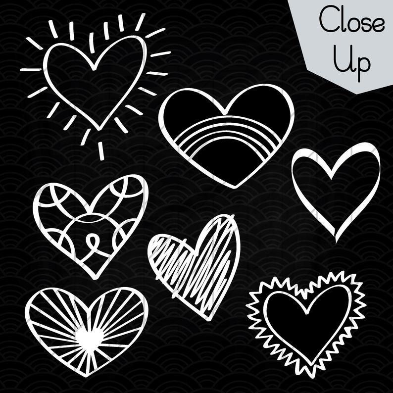White Hearts Outline Clip Art Hand Drawn Romance Vector Etsy White Heart Outline Heart Outline Clip Art