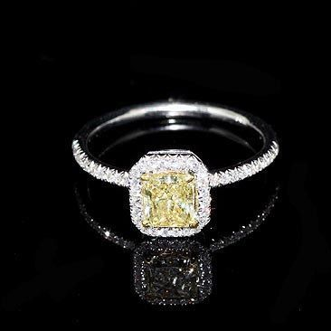 Radiant Cut Yellow Diamond Engagement Ring Setting, Halo French ...
