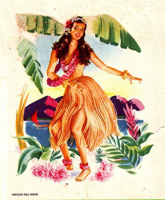 Vintage hawaiian hula girl art safe