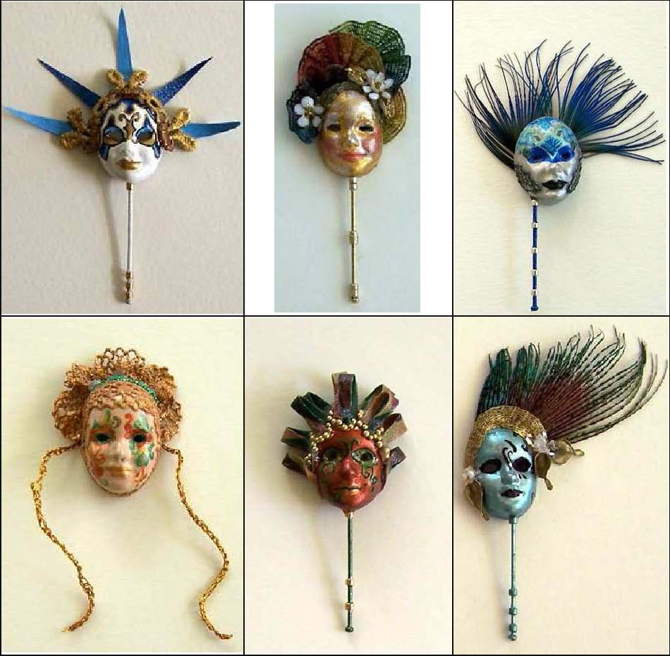 Venetian masks in miniature ... More awesome masks in http://venetianmasks.thetaworld.biz/
