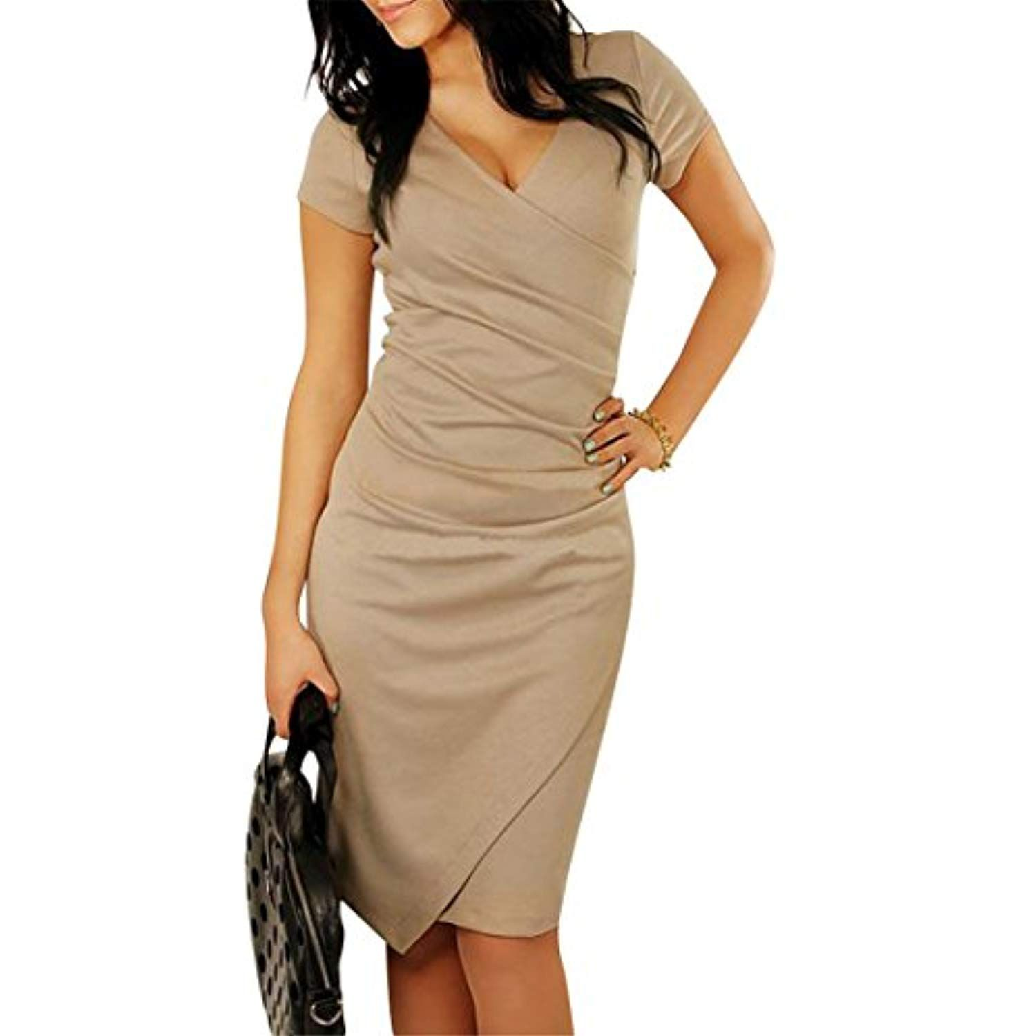 Women Vintage Bodycon Ruched Cocktail Pencil Business Dress Want Additional Info Click On The I Bodycon Dress Neck Bodycon Dress Bodycon Dress With Sleeves [ 1500 x 1500 Pixel ]