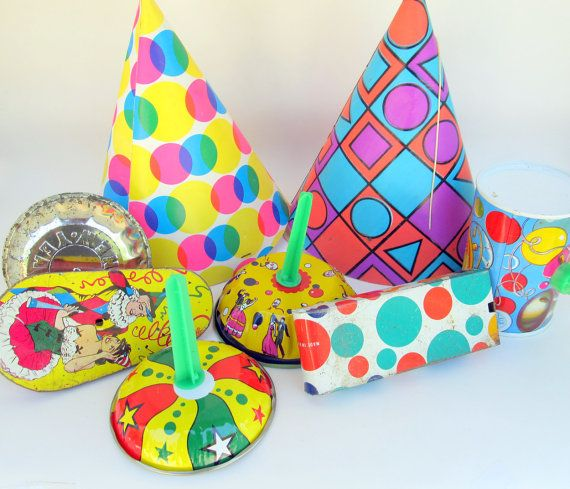 Vintage Party Decoration Lot 8 Party Items Hats by teresatudor, $12.99