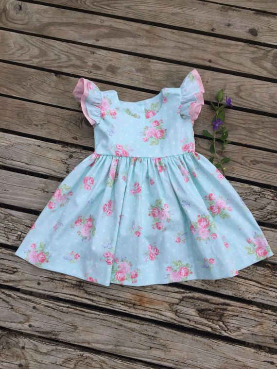 Toddler dress girl blue dress with pink flowers and accent baby toddler dress girl blue dress with pink flowers and accent baby girl flutter sleeve mightylinksfo