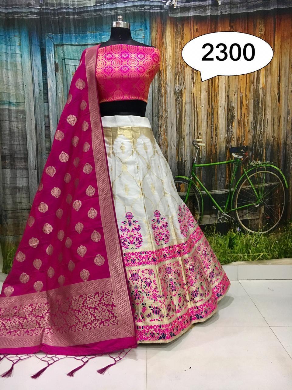 Designer lehenga choli Brocade silk lehengha inner cancan canvas semi stitch Blouse Dupatta pure banarasi silk lengha choli saree