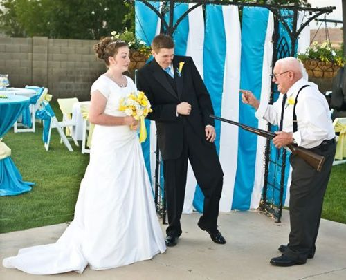 Funny Wedding Photo Grandpa Shotgun