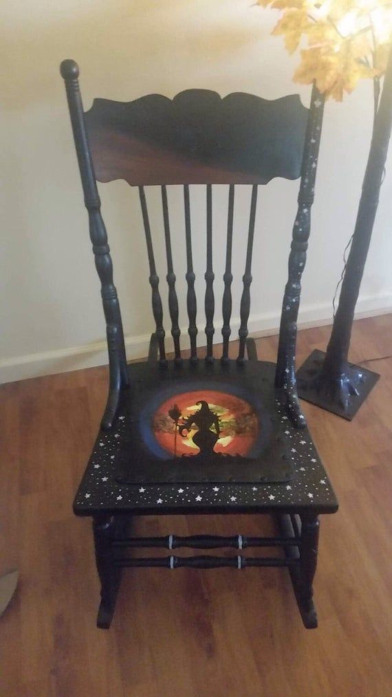 Phenomenal Hand Painted Halloween Witch Rocking Chair Furniture In Creativecarmelina Interior Chair Design Creativecarmelinacom