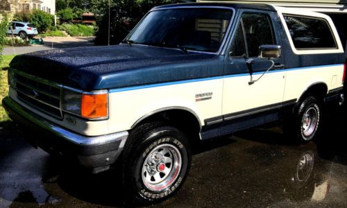 1988 Ford Bronco Xlt Blue White Two Tone Photo Ford Bronco