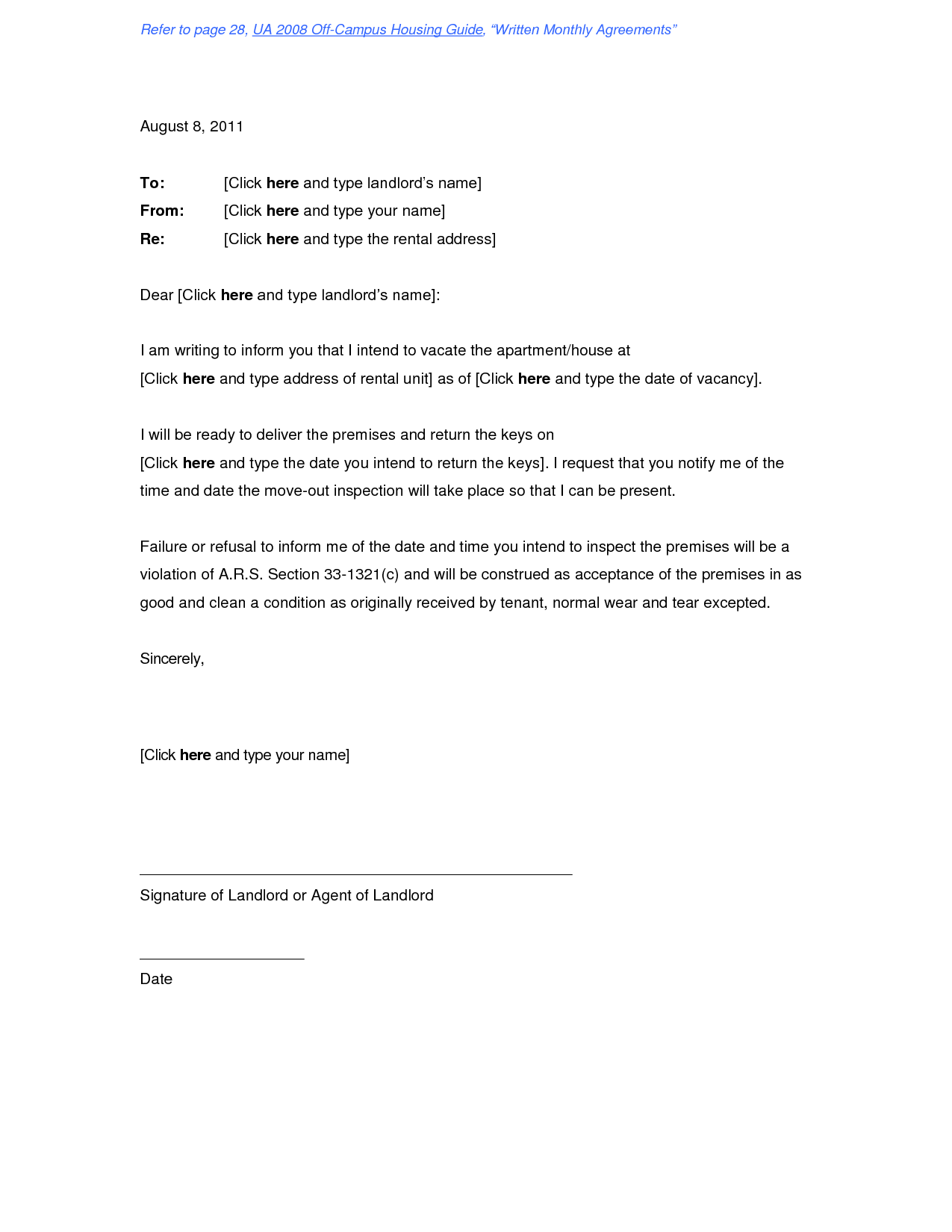 end of lease letter to landlord