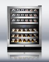 48-Bottle Dual-Zone Wine Refrigerator with Stainless Steel Cabinet