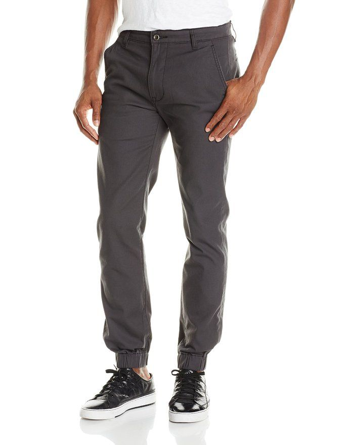 Levi's Men's Chino Jogger Pant, Black, Cotton-blend pant featuring  elasticized cuffs and slanted front pockets Zip fly with button closure