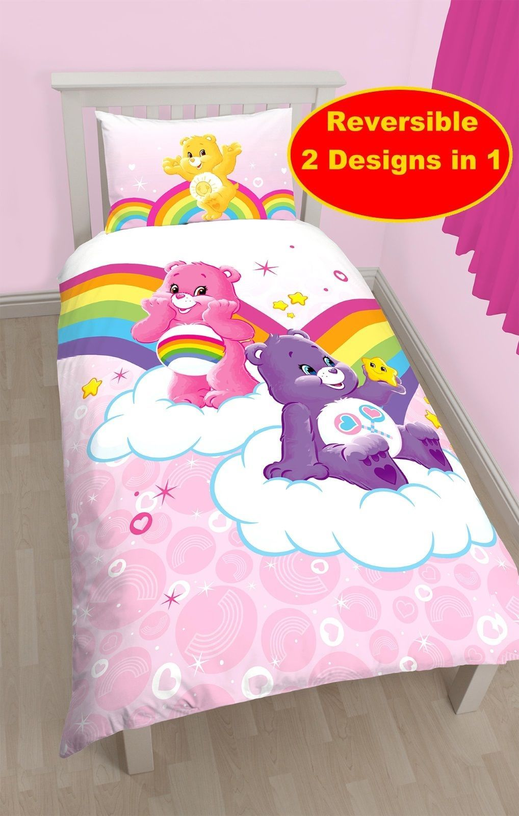 Bettwäsche Pokemon Care Bears Pink Cotton Blend Single Duvet Quilt Cover Set Girls