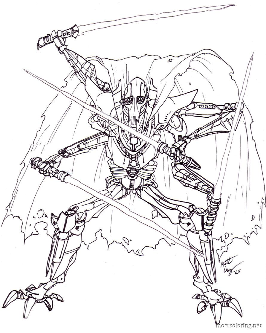 General Grievous Coloring Page 01 Jpg 890 1 114 Pixels Star