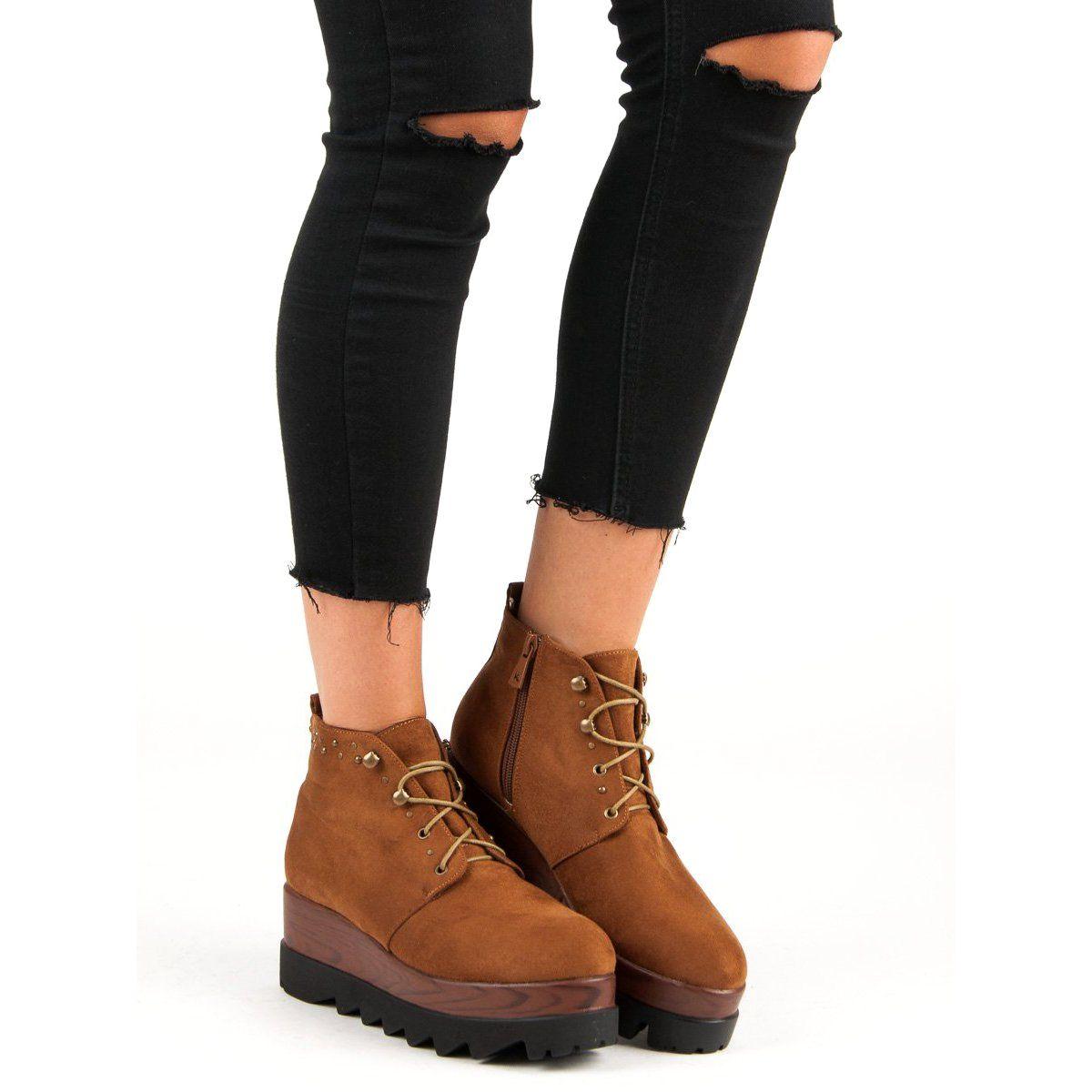 Kylie Zamszowe Botki Na Koturnie Brazowe Timberland Boots Shoes Boots
