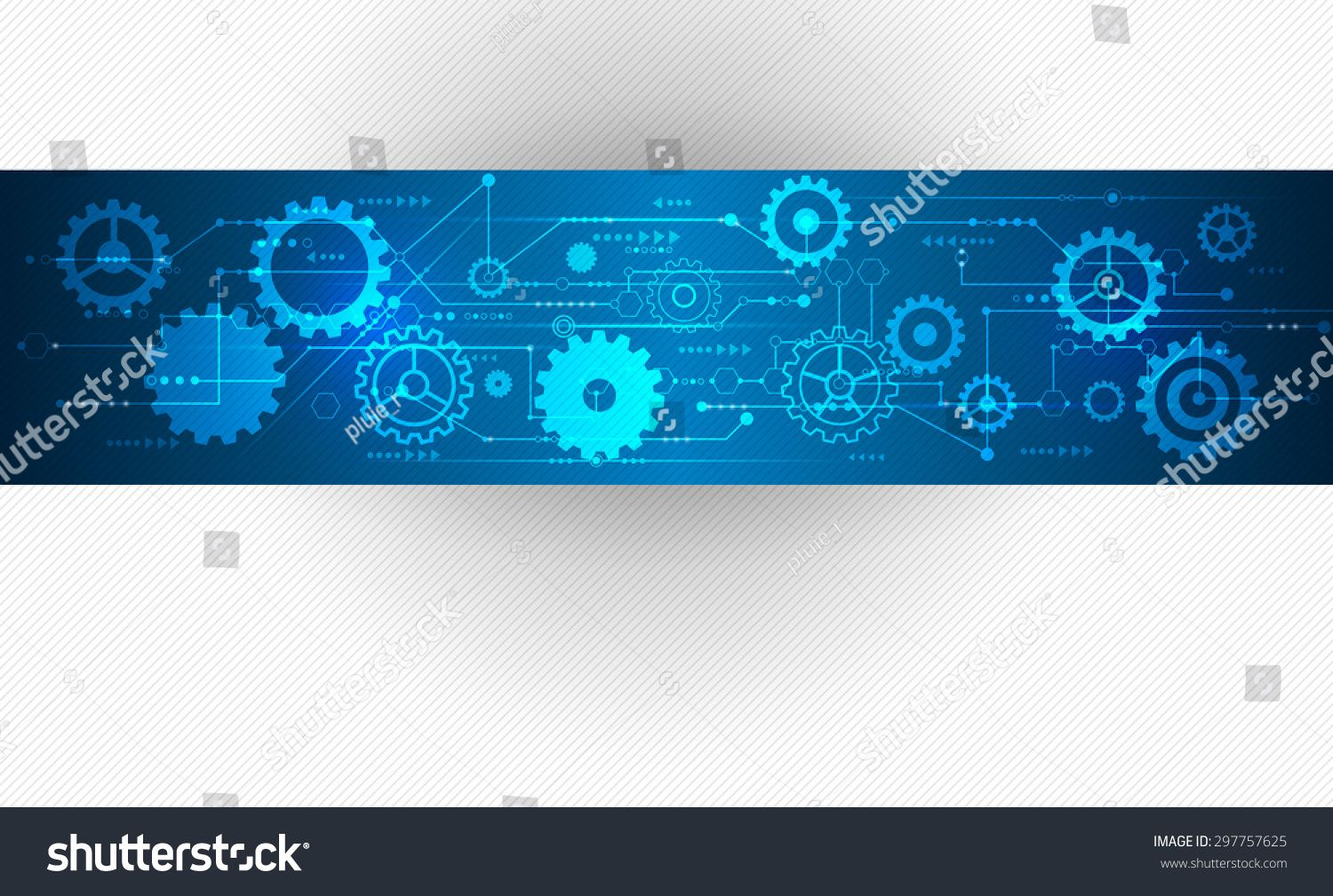 Vector Abstract Futuristic Stripe Line Printed Circuit Board Infographic Pattern With Gear Wheel And Arrow Symbol