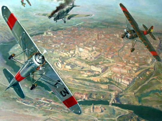 Two Dewoitine D 371s attacking a Junkers over Toledo, Spain