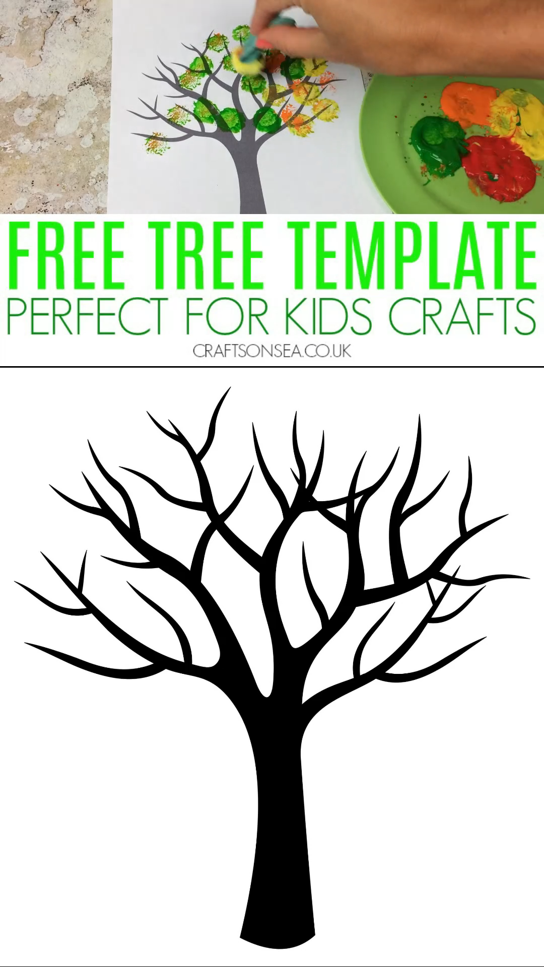 Cherry Blossom Popcorn Tree Kid Craft W Free Printable Template Popcorn Tree Spring Crafts For Kids Crafts For Kids