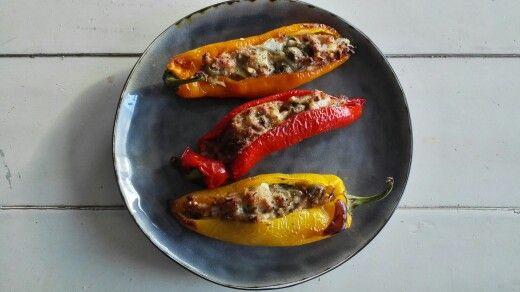 Zoete paprika, met kippengehakt @ mijnpuurleven.wordpress.com
