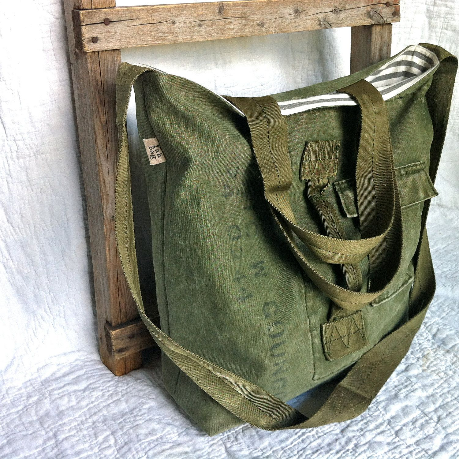 335d53288b reconstructed vintage army duffle messenger bag. (Wish I still had my old  duffle bag to try this!!)