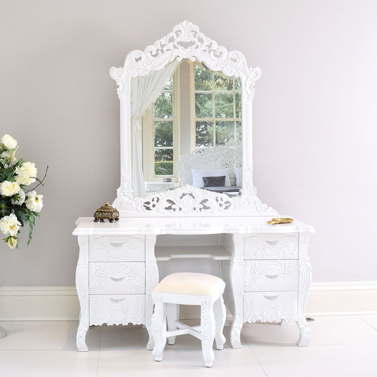 French rococo dressing table mirror white with stool
