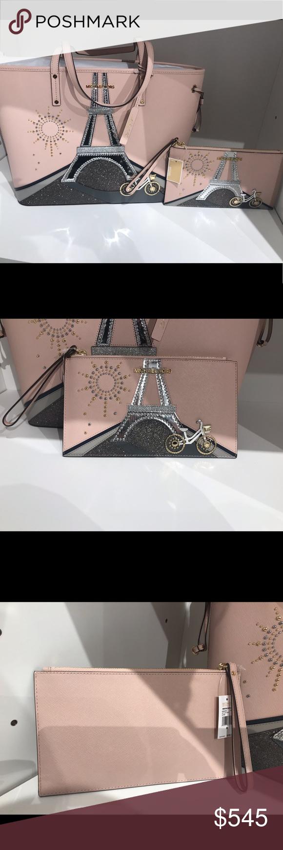 """c93d918c02af Michael Kors Paris bag tot clutch wristlet set Authentic guaranteed!!!!!  Very beautiful Paris theme. Nouveau Novelty limited edition. """"Ballet """"  blush light ..."""
