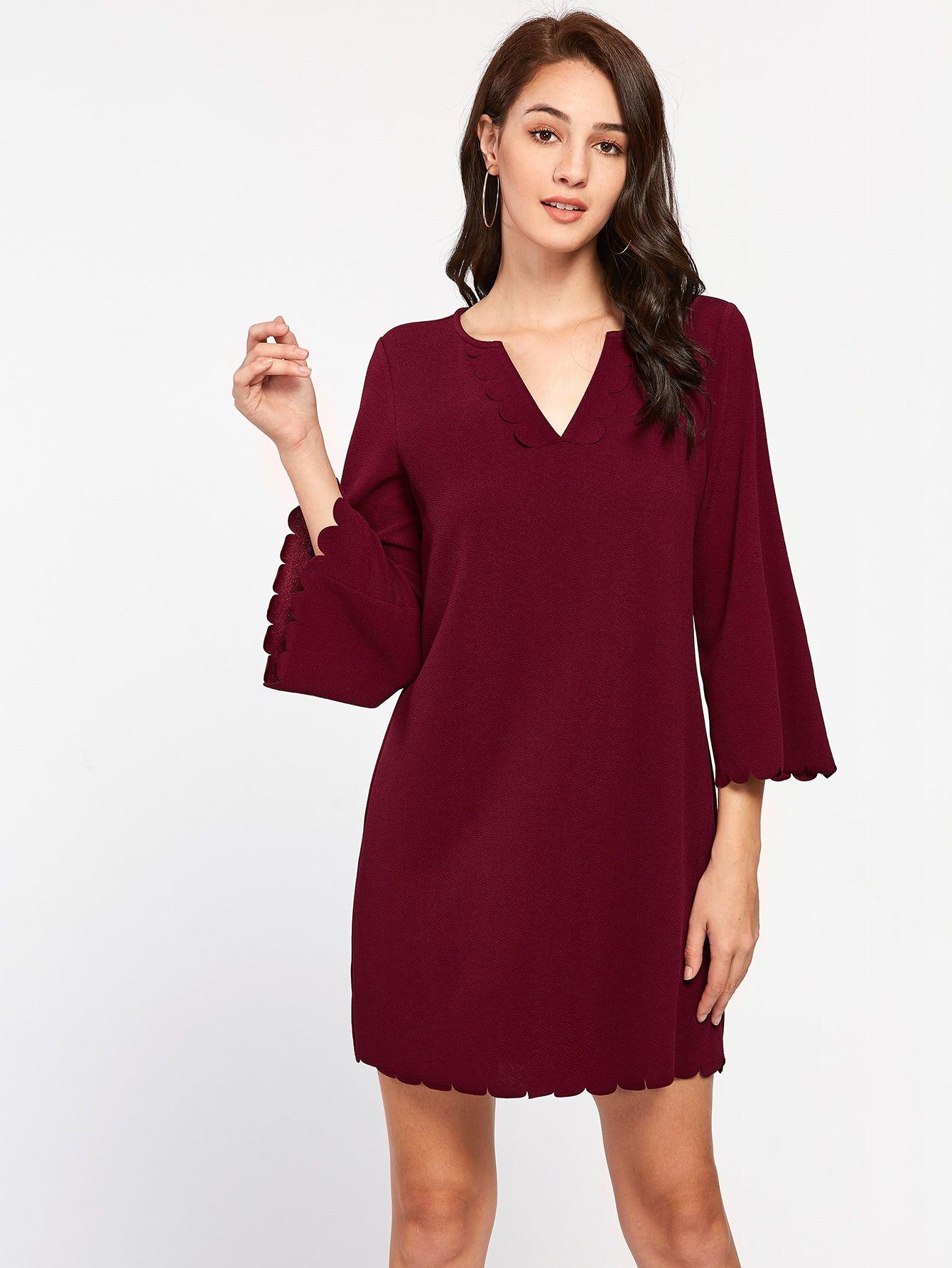 Scallop Sleeve OnlineShein Shop Offers Bell Detail Dress zUMVpLGjSq