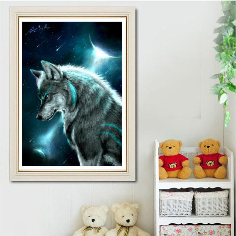 Diy paintingamazingdeal 5d moonlit night wolf diamond