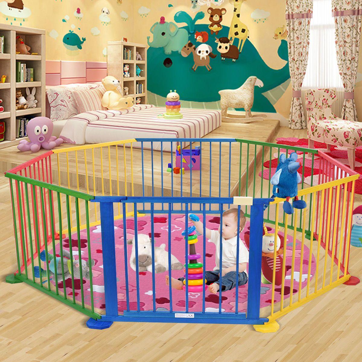 baby playpen 8 panel colors wooden frame children playard foldable room divider