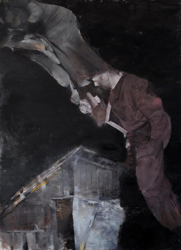 Razvan Boar, Nebula 2, 2012, Oil and acrylic on canvas, 220 x 160 cm via www.voltashow.com