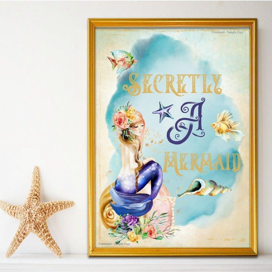 Mermaid quote print secretly a mermaid girls bedroom mermaid wall