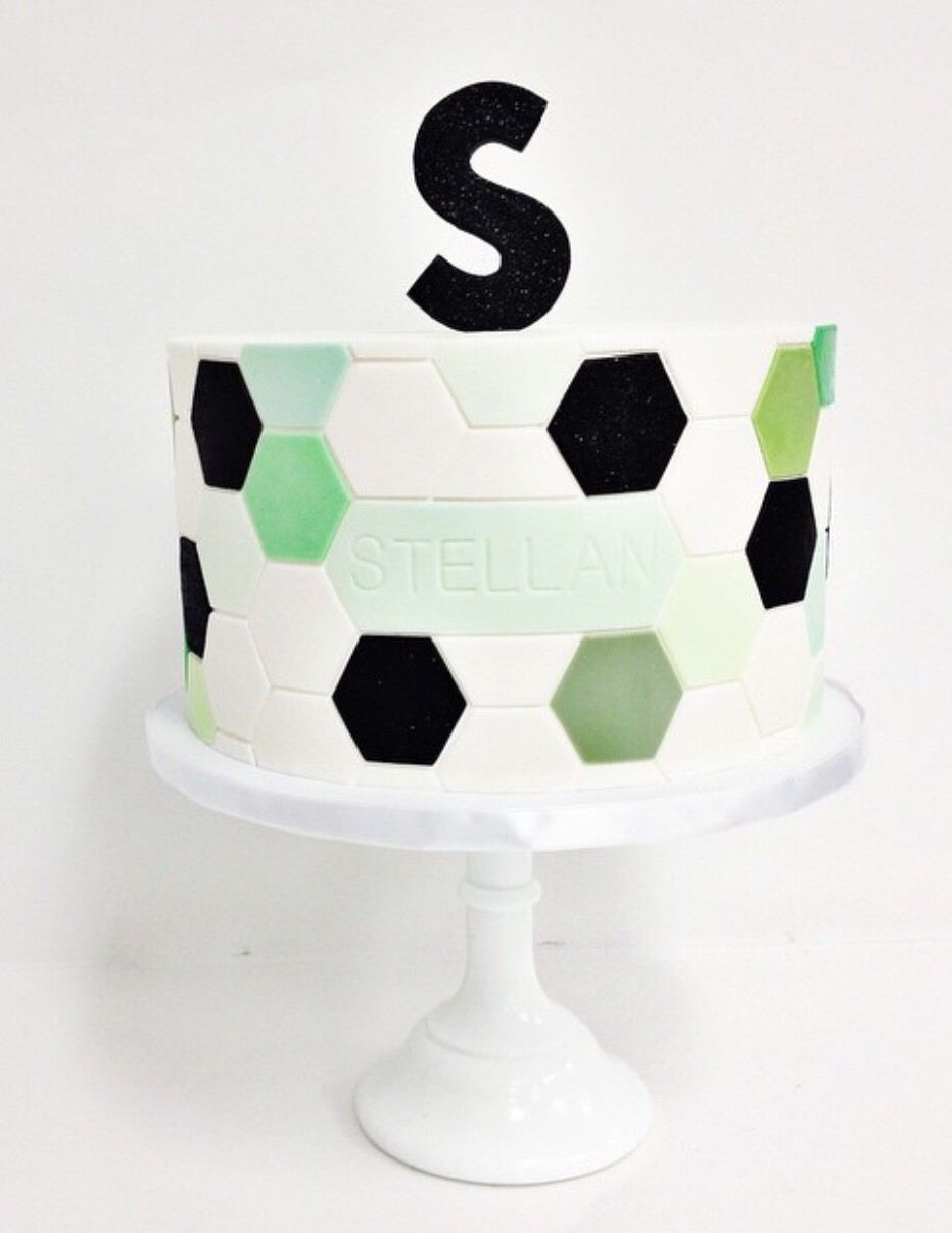 Such a fun modern twist on a soccer themed party Cake by