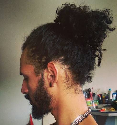 Bun Hairstyles For Curly Hair : Long curly hair men pictures black pinterest more long