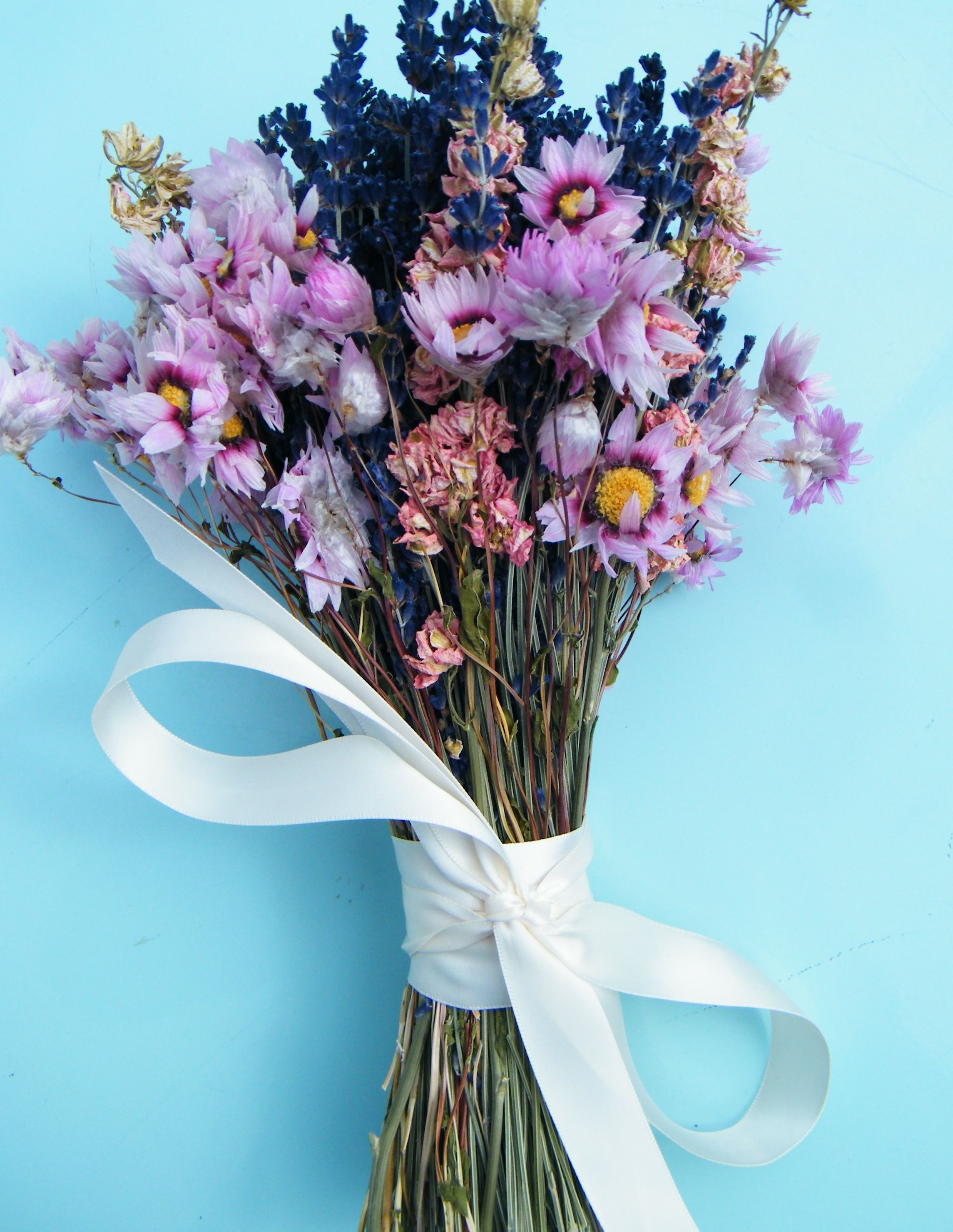 A dried flower bouquet handtied as a special order for a
