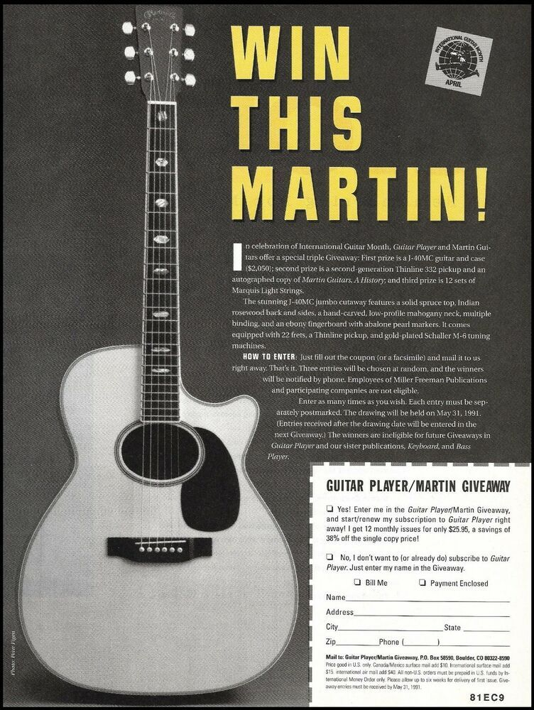 Martin J-40MC acoustic guitar 1991 contest giveaway 8 x 11 entry