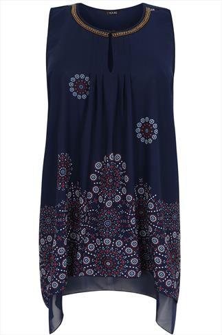 0914a2673e5 Navy & Multi Tile Border Print Hanky Hem Chiffon Tunic Dress Tunic Dresses,  Dress P