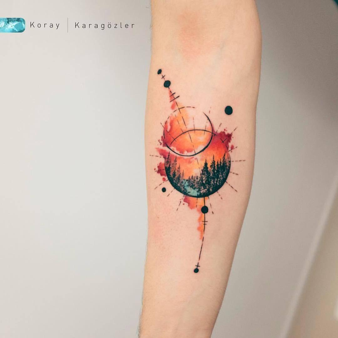 Sunset Planets Antalya Turkey Suluboya Dovmeler