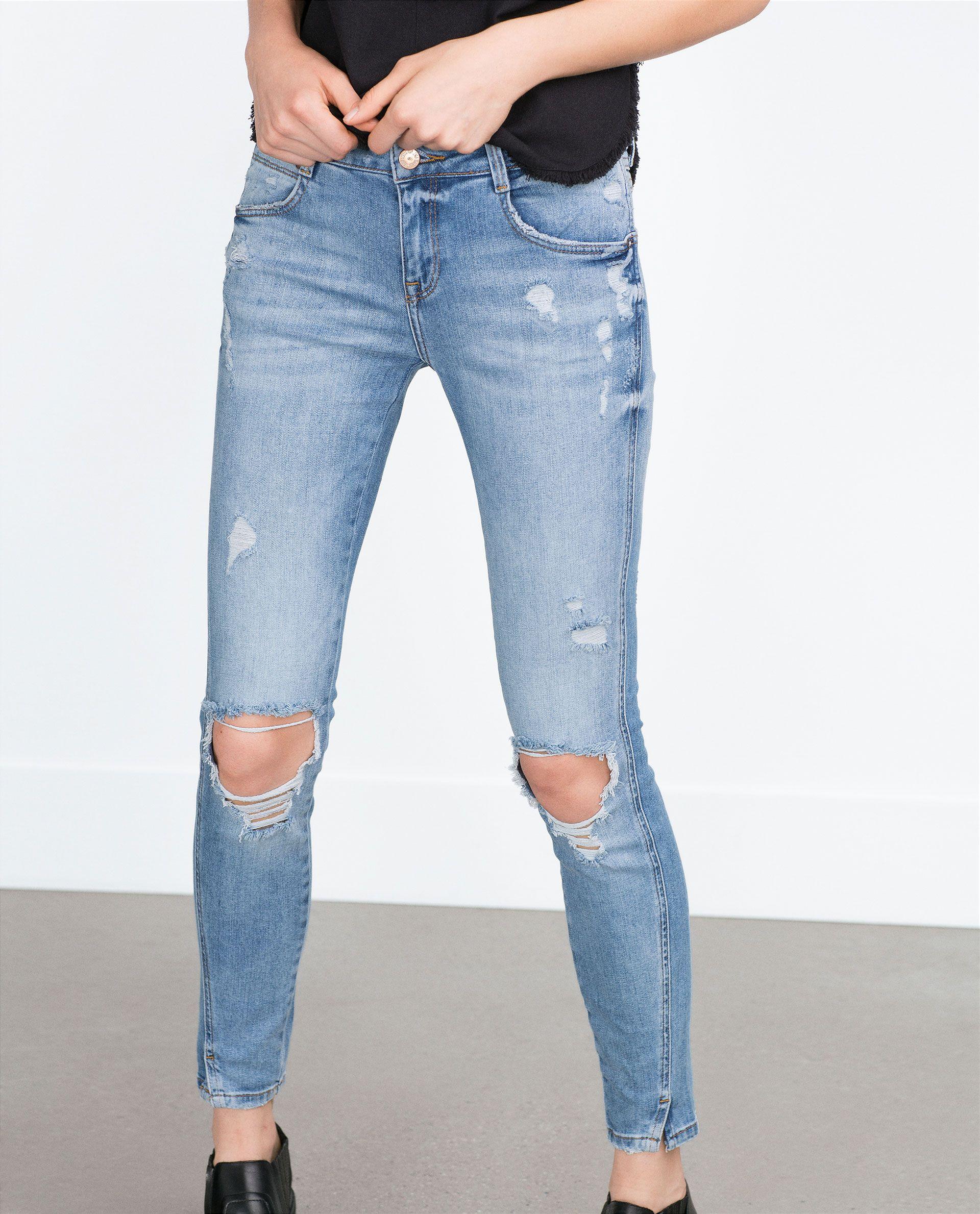 299d5f4b CALÇAS DE GANGA SKINNY COM RASGÕES - Jeans - TRF | ZARA Portugal ...