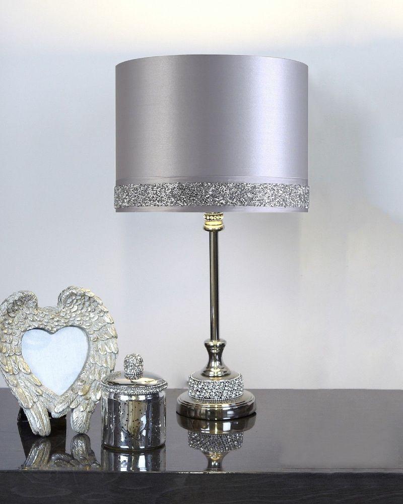 Nickel Diamante Table Lamp with Silver