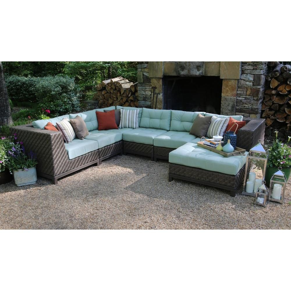 Ae Outdoor Dawson 7 Piece Patio Sectional Seating Set With Sunbrella Fabric Spa Green Cushions