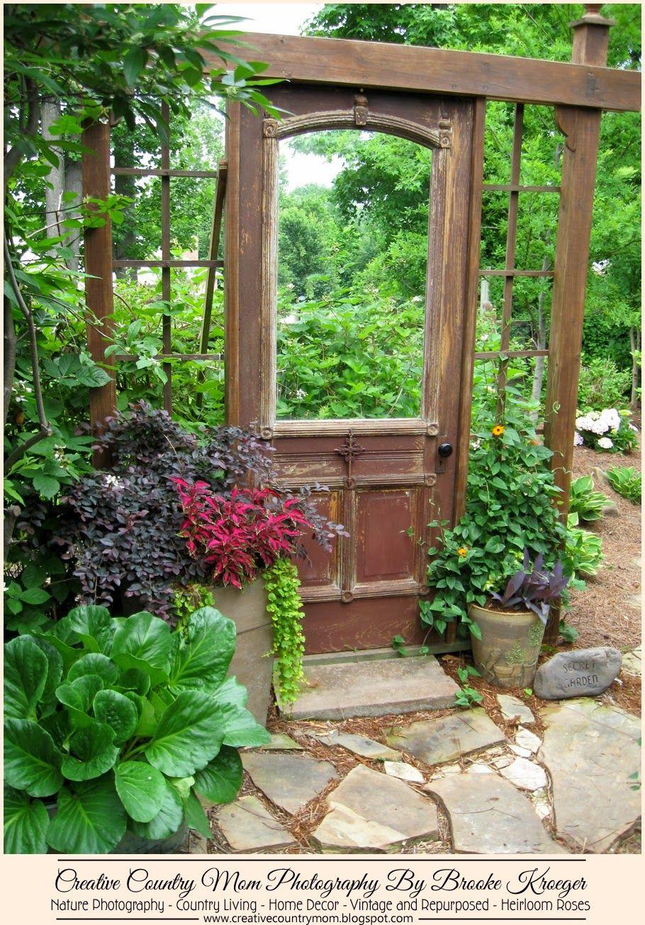 Creative Country Mom's Garden: Garden Gawkers #10 - Fantastic Antique Door  Repurposed For The - Creative Country Mom's Garden: Garden Gawkers #10 - Fantastic