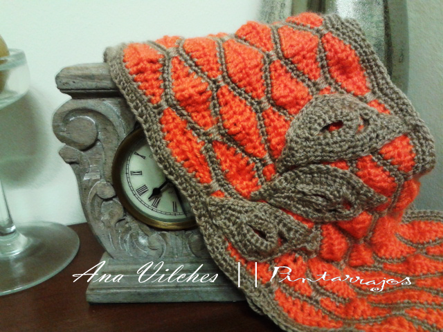 Bufanda circular en punto onda con patrón. Infinite scarf wave style ...