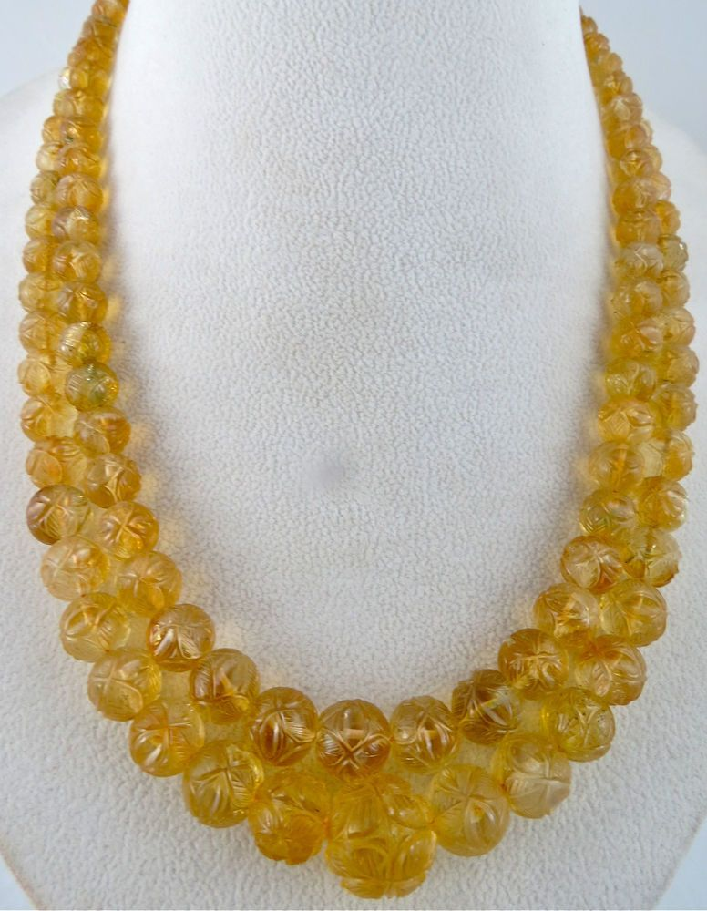 SUPERFINE 545CTS NATURAL CITRINE CARVED ROUND BEADS NECKLACE WITH SILK CORD #PANSARIJEWELS